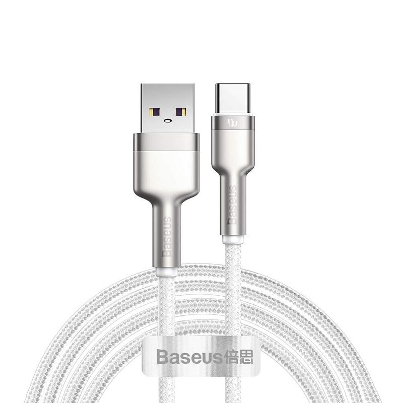 Cablu Baseus Cafule Series Metal Type-C 40W (1m) [White]