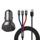 Авто-зарядка Baseus Digital Display (24W) + Кабель 3 in 1 [Black]