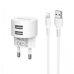 Incarcator de retea Borofone BA23A Brilliant + Cablu Lightning (2.4A) [White]