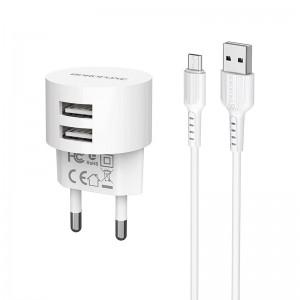 Зарядное устройство Borofone BA23A Brilliant + Кабель Micro USB (2.4A) [White]