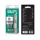 Incarcator de retea Borofone BA23A Brilliant + Cablu Micro USB (2.4A) [White]