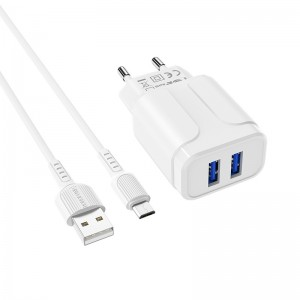 Incarcator de retea Borofone BA37A Speedy + Cablu Micro USB (2.4A) [White]
