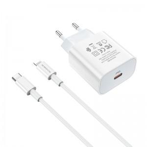 Incarcator de retea Borofone BA38A Speedy + Cablu Type-C to Lightning (PD20W) [White]