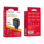 Incarcator de retea Borofone BA46A Premium + Cablu Type-C to Lightning (PD+QC3.0) [Black]