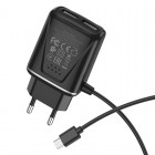 Incarcator de retea Borofone BA50A Beneficence + Cablu Micro USB (2.1A) [Black]