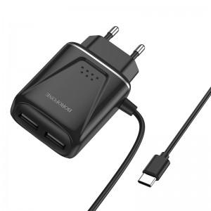 Зарядное устройство Borofone BA50A Beneficence + Кабель Type-C (2.1A) [Black]