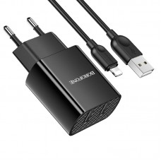Incarcator de retea Borofone BA53A Powerway + Cablu Lightning (2.1A) [Black]