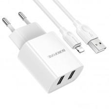 Incarcator de retea Borofone BA53A Powerway + Cablu Lightning (2.1A) [White]