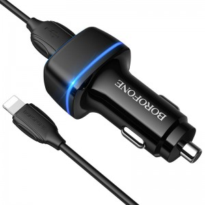 Incarcator auto Borofone BZ14 Max + Cablu Lightning (2.4A) [Black]