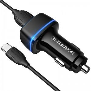Incarcator auto Borofone BZ14 Max + Cablu Type-C (2.4A) [Black]