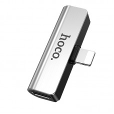 Adapter Hoco LS25 Lightning  to 3.5mm Jack + Lightning [Silver]