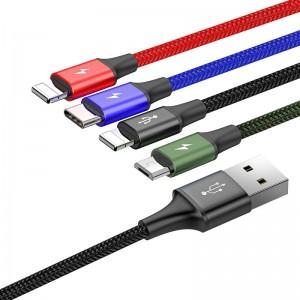 Кабель Baseus Fast 4-in-1 Lightning+Type-C*2+Micro USB (1.2м) [Black]