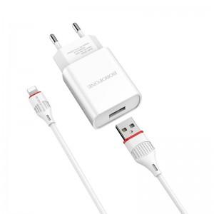 Incarcator de retea Borofone BA20A Sharp + Cablu Lightning (2.1A) [White]