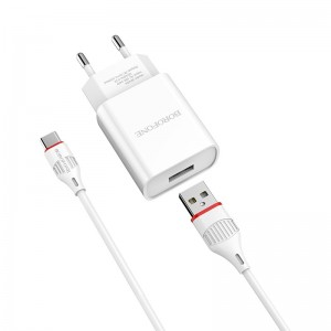 Incarcator de retea Borofone BA20A Sharp + Cablu Type-C (2.1A) [White]