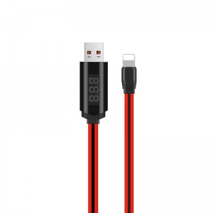Кабель Hoco U29 LED Timing Lightning (1.2м) [Black-Red]