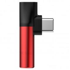 Адаптер Baseus L41 Type-c to Type-c +  jack (3,5mm) (Red)