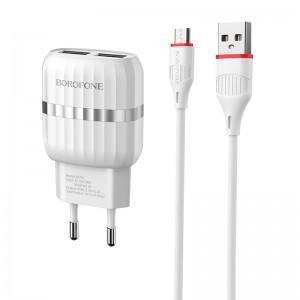 Incarcator de retea Borofone BA24A Vigour + Cablu Micro USB (2.1A) [White]