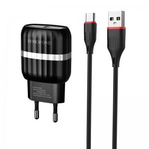 Incarcator de retea Borofone BA24A Vigour + Cablu Type-C (2.1A) [Black]