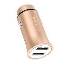 Incarcator auto dual USB Borofone BZ4 Roader 2.4A Aluminium Alloy Gold
