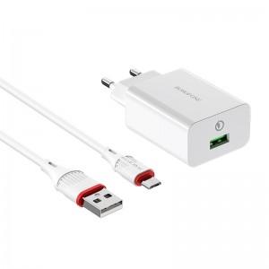 Incarcator de retea Borofone BA21A Long Journey + Cablu Micro USB (QC3.0) [White]