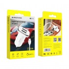 Incarcator auto Borofone BZ12 Lasting + Cablu Type-C (2.4A) [White]