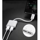 Audio Converter + Charger Hoco LS5 Dainty Lightning White