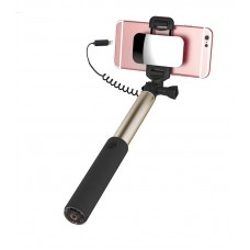 Selfie stick ROCK Lightning + Mirror Gold 90 cm